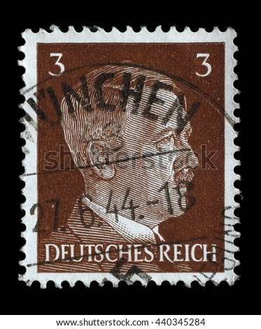 ZAGREB, CROATIA - JUNE 22: A stamp printed in Germany shows image of Adolf Hitler, series, 1941, on June 22, 2014, Zagreb, Croatia - stock photo