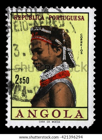 ZAGREB, CROATIA - JUNE 25: a stamp printed in the Angola shows Natives, Angolan Women, circa 1961, on June 25, 2014, Zagreb, Croatia - stock photo