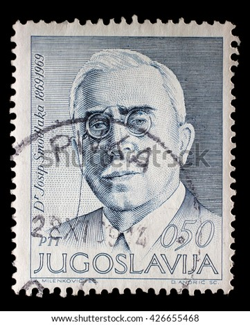 ZAGREB, CROATIA - JUNE 14: a stamp printed in Yugoslavia shows The 100th Anniversary of the Birth of Josip Smodlaka(1869-1956), Croatian politician, circa 1969, on June 14, 2014, Zagreb, Croatia