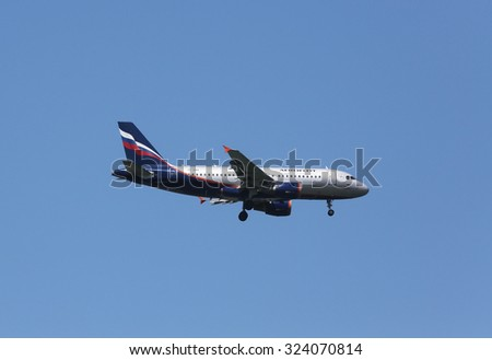 ZAGREB, CROATIA - JUNE 10: Airbus A319, registration VP-BWA of Aeroflot landing on Zagreb Airport Pleso on June 10, 2015. - stock photo
