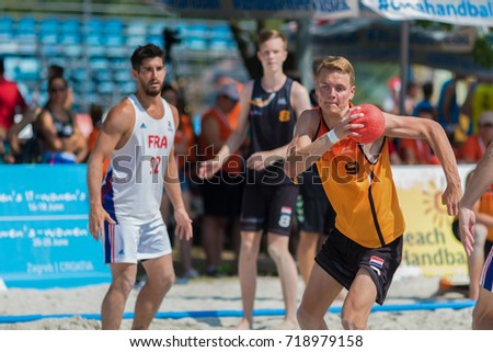 ZAGREB, CROATIA - JUNE 23, 2017: Beach Handball Euro Croatia 2017 France vs. Nederland. Nederland player shooting at the goal