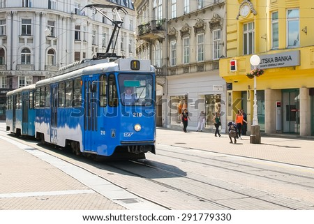 ZAGREB, CROATIA - 1. June, 2015. Blue tram in the city center of Zagreb