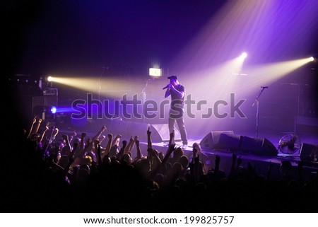 ZAGREB, CROATIA - JUNE 16, 2014: Dropkick Murphys (Al Barr) performing in Dom sportova during  their 2014 tour.