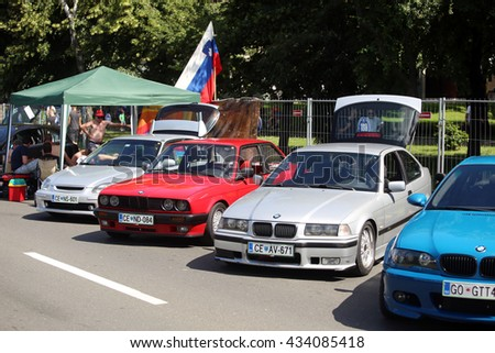 ZAGREB, CROATIA - JUNE 4, 2016 : Lined up parked cars waiting for the start of a race at Fast and furious street race at Avenue Dubrovnik in Zagreb, Croatia. - stock photo
