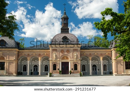 ZAGREB, CROATIA - JUNE 25, 2015: Mortuary next to the Mirogoj cemetery.