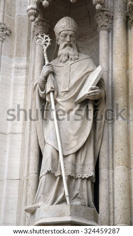 ZAGREB, CROATIA - JUNE 04: Statue of Saint Methodius on the portal of the cathedral dedicated to the Assumption of Mary and to kings Saint Stephen and Saint Ladislaus in Zagreb on June 04, 2011.