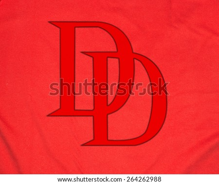 ZAGREB , CROATIA - 27 March 2015 - Close up logo of Daredevil , Marvel superhero comic books character printed on shirt or costume , product shot - stock photo