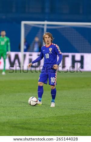 ZAGREB, CROATIA - MARCH 28, 2015: EURO 2016 qualifiers, group H - Croatia VS Norway. Luka MODRIC (10). - stock photo