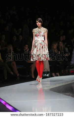 ZAGREB, CROATIA - MARCH 27: Fashion model wearing clothes designed by Ivica Skoko on the 'Fashion.hr' show on March 27, 2014 in Zagreb, Croatia.