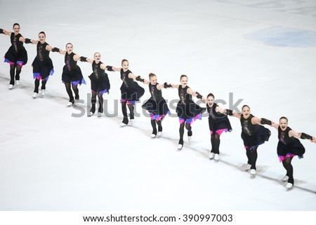 ZAGREB, CROATIA - MARCH 12 : Finland 1 perform in the Juniors Free Skating during Day 2 of the ISU Synchronized Skating Junior World Challenge Cup at Dom Sportova on March 12, 2016 in Zagreb, Croatia.