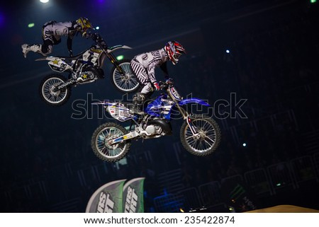 ZAGREB, CROATIA - MARCH 30, 2013: FMX motorbike drivers performing on Masters of dirt 2013 - Freestyle motocross show.