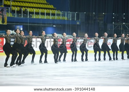 ZAGREB, CROATIA - MARCH 12 : Sweden 1 perform in the Juniors Free Skating during Day 2 of the ISU Synchronized Skating Junior World Challenge Cup at Dom Sportova on March 12, 2016 in Zagreb, Croatia.