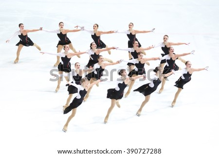 ZAGREB, CROATIA - MARCH 11: Team Russia 1 perform in the Juniors Short Program during Day 1 of ISU Synchronized Skating Junior World Challenge Cup at Dom Sportova on March 11, 2016 in Zagreb, Croatia. - stock photo