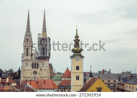 ZAGREB, CROATIA - 12 MARCH 2015: View of Zagreb Cathedral, St. Marie's Church and rooftops of surrounding buildings. - stock photo