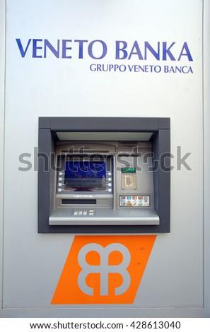 ZAGREB, CROATIA - MAY 26, 2016: A Veneto Banka  d.d. ATM machine.  - stock photo