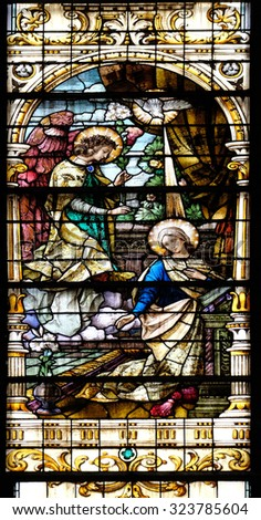 ZAGREB, CROATIA - MAY 28: Annunciation of the Virgin Mary, stained glass window in the Basilica of the Sacred Heart of Jesus in Zagreb, Croatia on May 28, 2015 - stock photo
