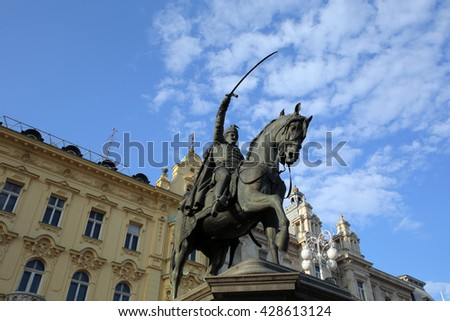 ZAGREB, CROATIA - MAY 26, 2016: Ban Jelacic Square is the central square of the city of Zagreb, Croatia, named after ban Josip Jelacic. The official name is Trg bana Jelacica   - stock photo