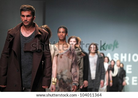 """ZAGREB, CROATIA - MAY 11: Fashion model wears clothes made by Julia and Ben on """"ZAGREB FASHION WEEK"""" show on May 11, 2012 in Zagreb, Croatia. - stock photo"""