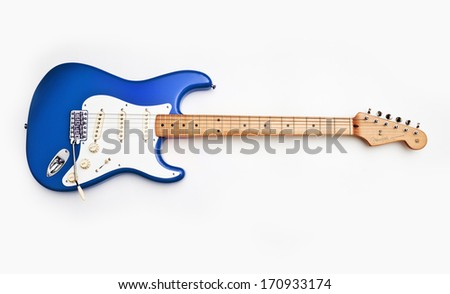 ZAGREB , CROATIA - MAY 27 ,2010 : fender stratocaster blue electric guitar on white background , product shot - stock photo