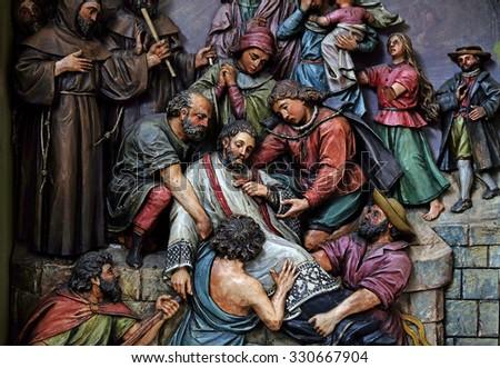 ZAGREB, CROATIA - MAY 28: Martyrdom of Saint John of Nepomuk, the altar in the Basilica of the Sacred Heart of Jesus in Zagreb, Croatia on May 28, 2015 - stock photo