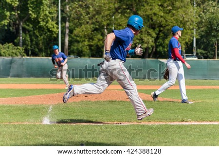 ZAGREB, CROATIA - MAY 22, 2016: Match between Baseball Club Zagreb vs. Aeros Erd. Runner is running toward the first base
