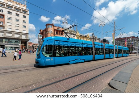 ZAGREB, CROATIA - MAY 26, 2016: New modern tram of Croatian capital Zagreb on ban Jelacic square