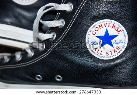 ZAGREB , CROATIA - May 9th , 2015 : Converse All star logo printed on the side of the shoe   ,product shot - stock photo