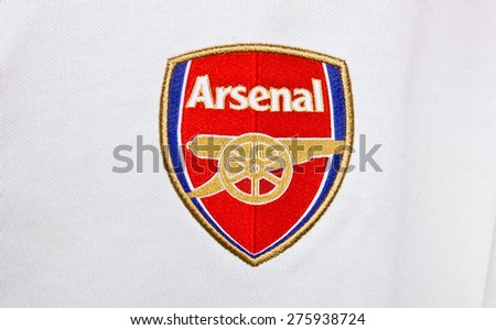 ZAGREB , CROATIA - May 7th , 2015 : English football club  Arsenal from London sign on game jersey   ,product shot - stock photo