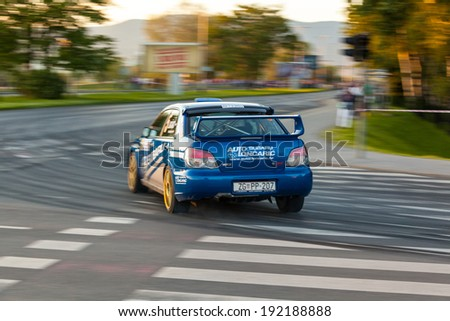 ZAGREB, CROATIA - MAY 9, 2014: 40th INA Delta Rally, the oldest, and most popular car racing event in Croatia. Nenad LONCARIC / Tomislav PAZMAN in Subaru Impreza STI