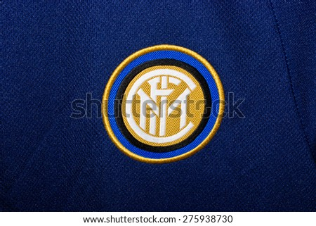 ZAGREB , CROATIA - May 7th , 2015 : Italian football club Inter from Milan sign on game jersey   ,product shot - stock photo