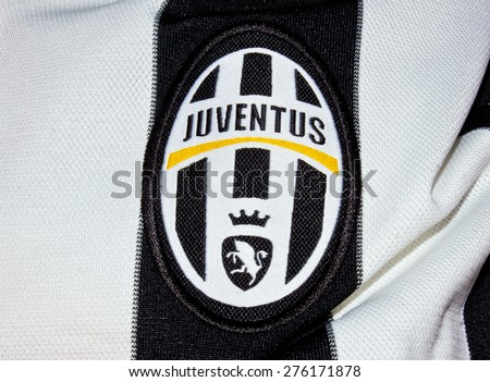 ZAGREB , CROATIA - May 7th , 2015 : Italian football club  Juventus  sign on game jersey   ,product shot - stock photo