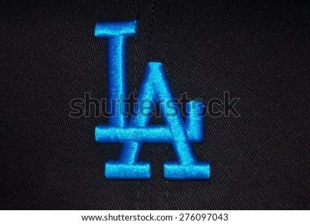 ZAGREB , CROATIA - May 7th , 2015 : MLB baseball club Los Angeles Dodgers logo on the textile   ,product shot