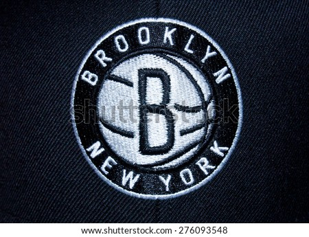 ZAGREB , CROATIA - May 7th , 2015 : NBA basketball club Brooklyn Nets from New York logo on the textile   ,product shot - stock photo