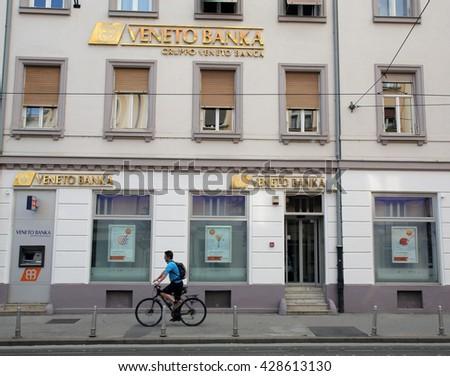 ZAGREB, CROATIA - MAY 26, 2016: The exterior of a Veneto Banka  d.d. branch office.   - stock photo