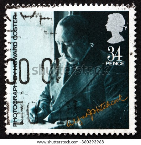 ZAGREB, CROATIA - NOVEMBER, 2015: a stamp printed in Great Britain shows Sir Alfred Hitchcock, Director, circa 1985