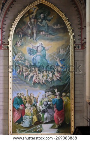 ZAGREB, CROATIA - NOVEMBER 29, 2015: Assumption of the Blessed Virgin Mary, altarpiece in Zagreb cathedral dedicated to the Assumption of Mary and to kings Saint Stephen and Saint Ladislaus in Zagreb  - stock photo