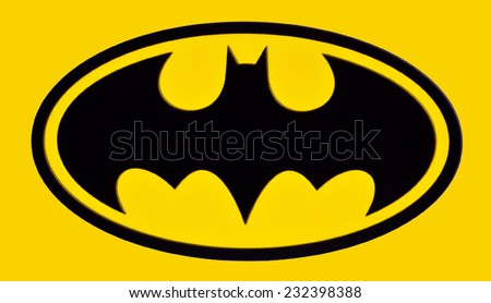 ZAGREB , CROATIA - NOVEMBER 22 , 2014 :   DC comics batman sign logo printed on poster ,product shot