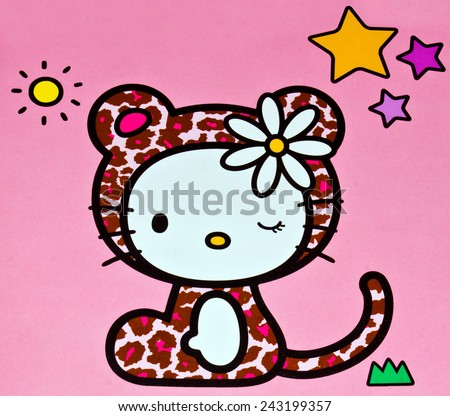 Kitty cartoons stock images royalty free images vectors zagreb croatia november 29 2014 hello kitty children cartoon character printed on voltagebd Choice Image