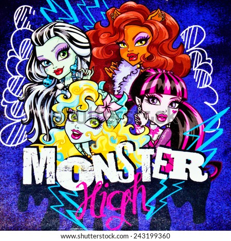 ZAGREB , CROATIA - NOVEMBER 29 , 2014 :  Monster high children cartoon characters printed on box ,product shot - stock photo