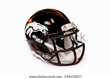 ZAGREB , CROATIA - NOVEMBER 28, 2015 :  NFL club Denver Broncos replica helmet on white background isolated, product shot