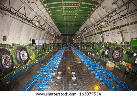 Zagreb, Croatia - November 9th, 2013.: Inside of the biggest plane in the world, Ukrainian Antonov AN-225 Mriya, ready for embarking 140 ton power generator needed for power-plant in the Philippines.