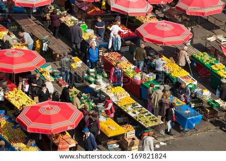 ZAGREB, CROATIA - OCT 2: Aerial view of Dolac market covered with parasols and fresh fruit and vegetables on October 2, 2013 in Zagreb, Croatia. It has been the city's major trading place since 1926 - stock photo