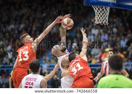 ZAGREB, CROATIA - OCTOBER 22, 2017: ABA League 2017/2018, Round 5 - Cedevita VS Crvena zvezda. Dzanan MUSA (13), Pero ANTIC (12) abd Andrija STIPANOVIC (31)