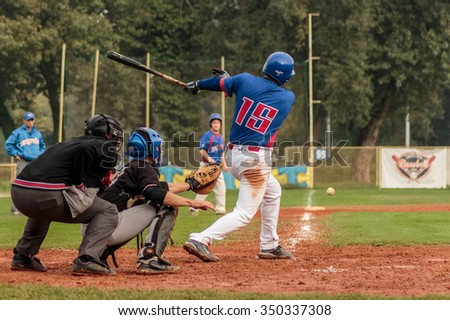 ZAGREB, CROATIA - OCTOBER 03, 2015: Baseball match Baseball Club Zagreb and Baseball Club Medvednica. Hitter hits ground ball