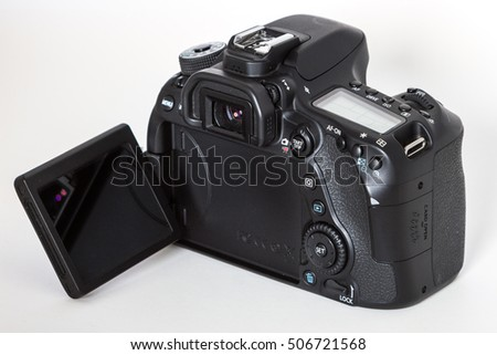 ZAGREB, CROATIA - October 14,2016: DSLR Digital Camera of  EOS Canon 80D on white background