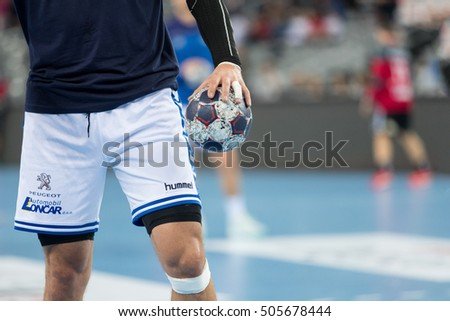 ZAGREB, CROATIA - OCTOBER 22, 2016: EHF Men's Champions League 2016-17, Group (B) phase. HC Zagreb PPD VS HC Vardar. Close up of player holding the ball.