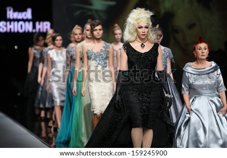 ZAGREB, CROATIA - OCTOBER 18: Fashion model wearing clothes designed by Ivica Skoko on the 'Fashion.hr' show on October 18, 2013 in Zagreb, Croatia.