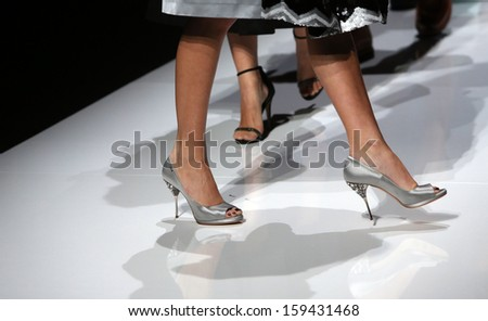 ZAGREB, CROATIA - OCTOBER 19: Fashion model wearing clothes designed by Robert Sever on the 'Fashion.hr' show on October 19, 2013 in Zagreb, Croatia.