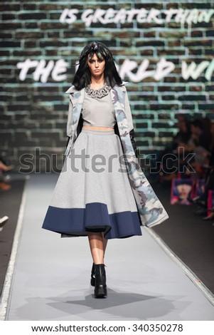 ZAGREB, CROATIA - OCTOBER 31, 2015: Fashion model wearing clothes designed by Zoran Aragovic (BiteMyStyle) on the 'Fashion.hr' fashion show - stock photo