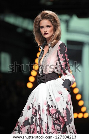 ZAGREB, CROATIA - OCTOBER 20: Fashion model wears clothes made by Teo Peric for Mak at 'Croaporter' fashion show, on October 20, 2012 in Zagreb, Croatia.